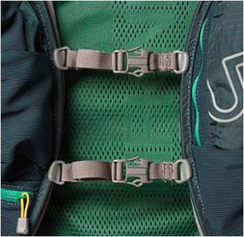 Two chest straps adjustable both vertically and horizontally.