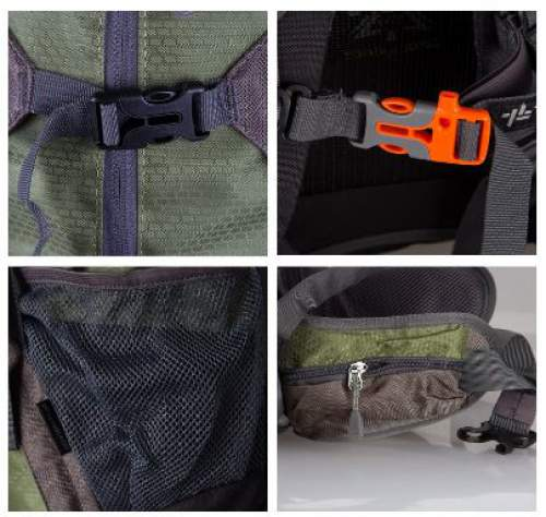 Some of the features: the front compression straps, the emergency whistle, the side pocket, and the hip belt pocket.