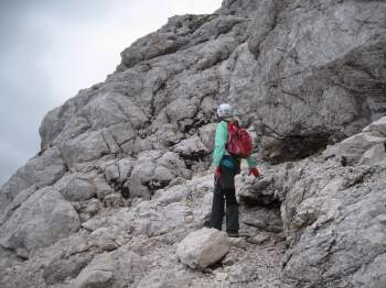 At the beginning of the summit ridge.