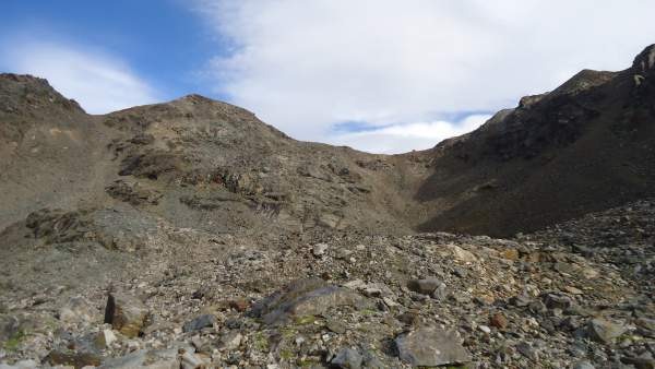 The first view of the Bivacco del Piero - the tiny dot on the pass.