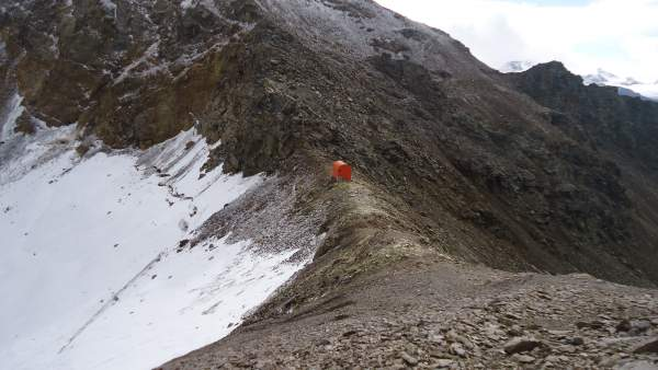 Bivacco del Piero on the pass between Monte Confinale and Cima della Manzina.