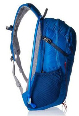 Side view showing the side pocket and the side strap.