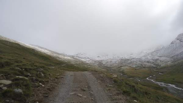 The first view of the Pizzini hut in the distance.