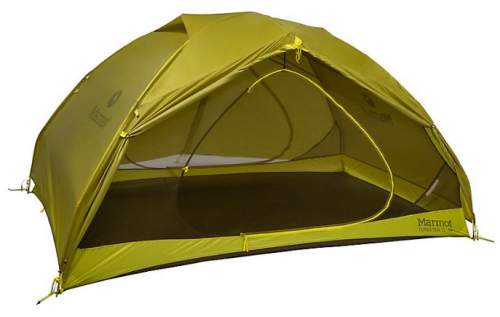 The tent with the fly, one vestibule is rolled out.