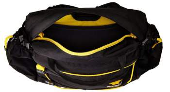The view into the main pocket with its yellow color and two internal pockets. The port is also visible.