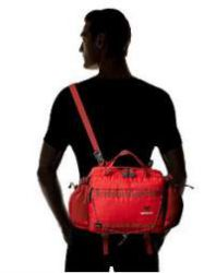 Carrying as a lumbar pack with the shoulder strap.