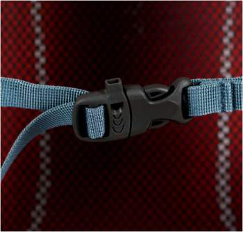 The sternum strap with emergency whistle, this is hardly a city-use feature.