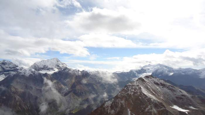The view of Gran Zebru (Konigspitze) from the summit of Monte Confinale. There was a storm a few minutes later...