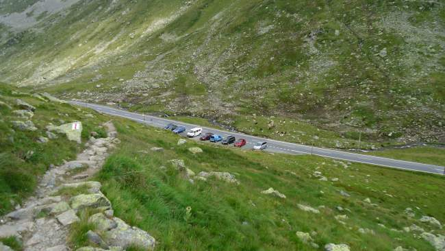 The parking at the road on the east side of Fluela Pass.