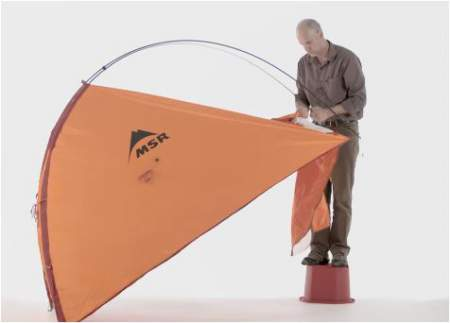 One person can set up the MSR Advance PRO 2 tent without moving from a single spot.