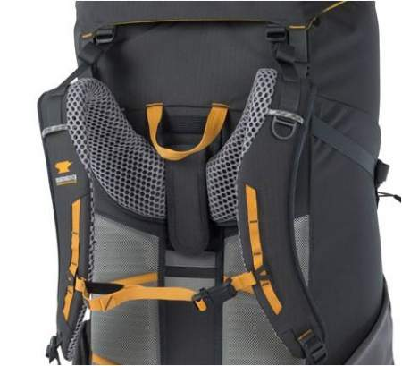 The harness is adjustable, you have a ladder-type system in place and Velcro tabs. They are visible here.
