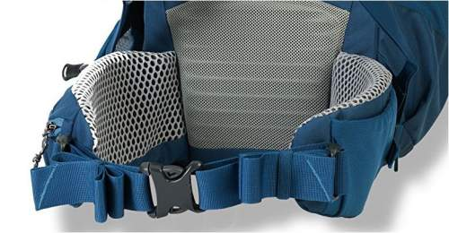 The generously padded lumbar zone and the hip belt with some padding and mesh.
