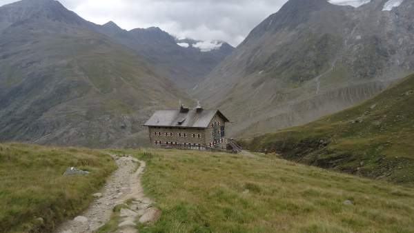The Martin Busch hut (2501 m), a place to stay overnight and to have a meal.