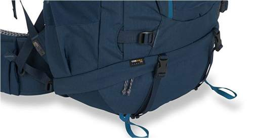 The bottom compartment with compression straps attachment loops, and side compression strap.,