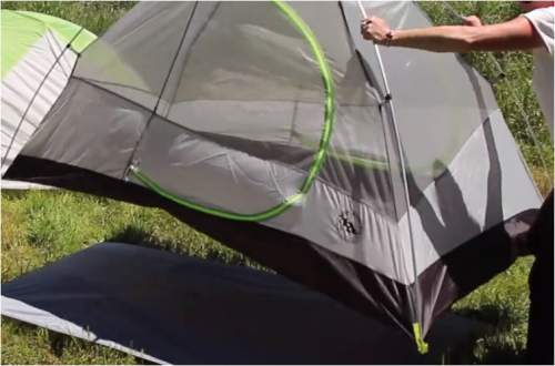 The tent can be moved from place to place due to its freestanding feature.