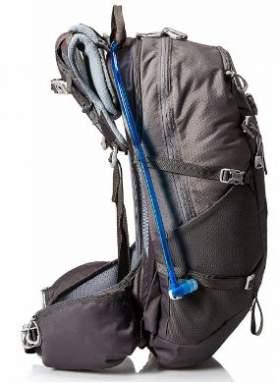 Side view showing compression straps, hip belt pocket and water hose.