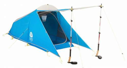 Sierra Designs Light Year 1 Tent with awning setup with the help of poles.