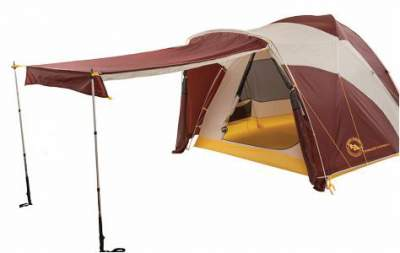 Here, the sides of the vestibule are rolled to the side of the tent, and the front section of the vestibule creates the awning.