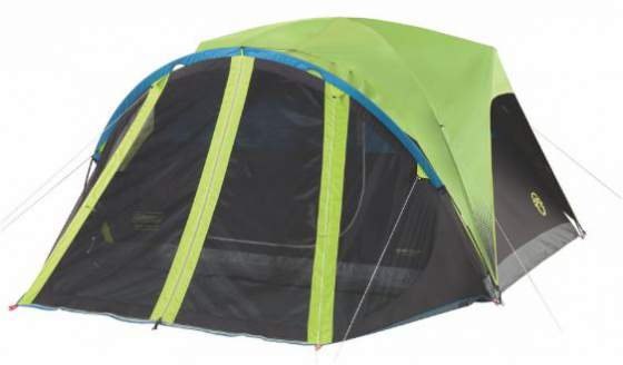 Coleman Carlsbad 4 Person Tent with screen room and dark rest room.