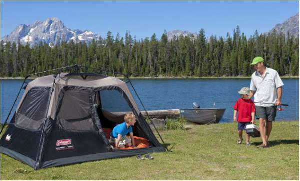 The Coleman 4 Person Instant Tent needs a camping place with a car access.