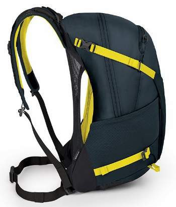The tensioned mesh separates the pack from the body.