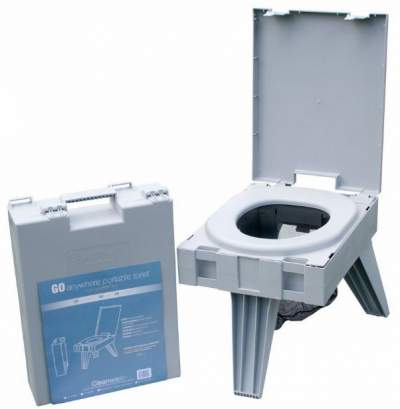 Cleanwaste Go Anywhere Portable Toilet in the packed and deployed state.