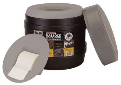 Reliance Hassock Portable Self-Contained Toilet.