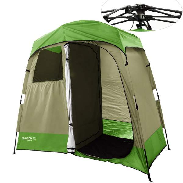 Quictent 2-Room Pop Up Automatic Rod Bracket Shower Tent.