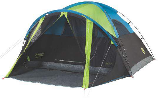 Here is the tent shown without the rain fly, so you can see the sleeves for the poles. There is no hub element here.