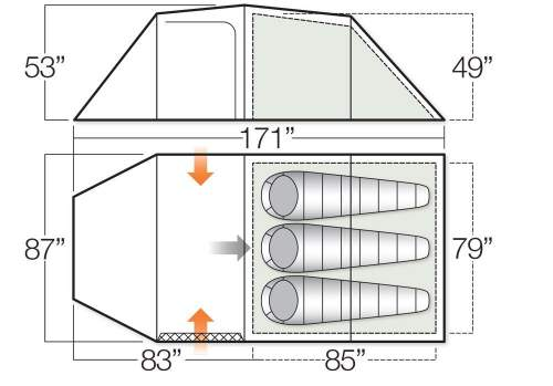 The floor plan and dimensions.