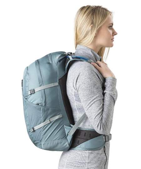 The pack is designed to fit a women's body.