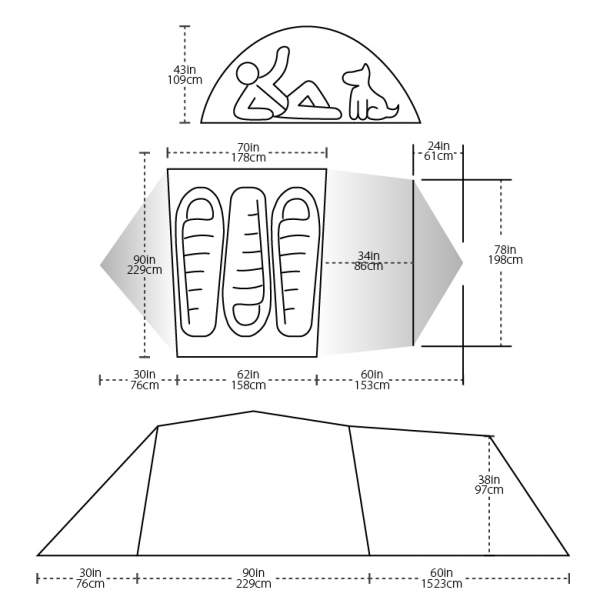 The floor area and the dimensions.