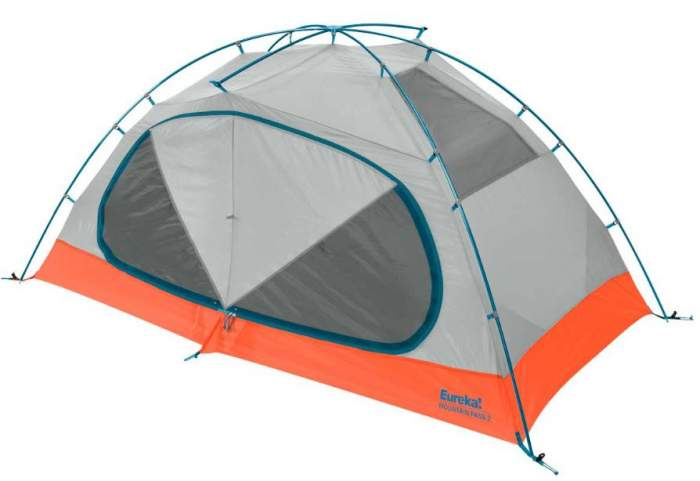 The tent shown without the fly. All poles are one single permanently connected piece.