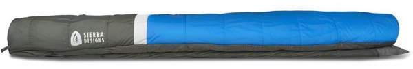 Side view with the sleeping pad in the bottom sleeve.