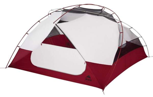 The tent shown without the fly so you can see the unique double-hubbed poles structure.