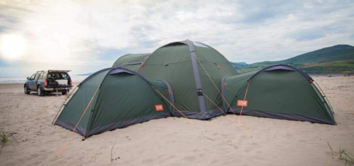 Crua Duo tents attached to the Crua Core 6-person tent in the so-called Crua Clan configuration.