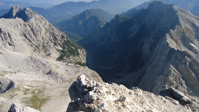 Tamar valley as seen from the summit, and Mojstrovka-Travnik group on the right.