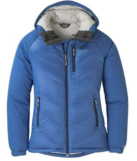 Outdoor Research Alpine Down Hooded Jacket for women.