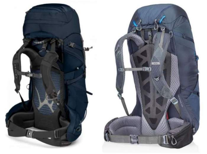 Left: Xenith pack AirScape suspension system. Right: Gregory Baltoro Matrix back panel and suspension.