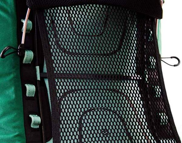Details of the ladder-type adjustability, and the beautiful tensioned mesh.