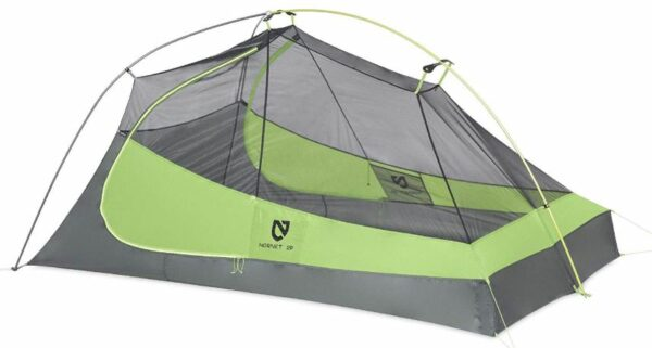 The 2-person tent is with 2 doors.