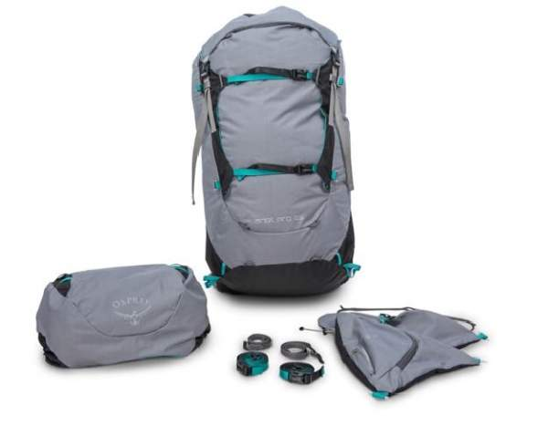 Osprey Ariel Pro pack with all removed elements.