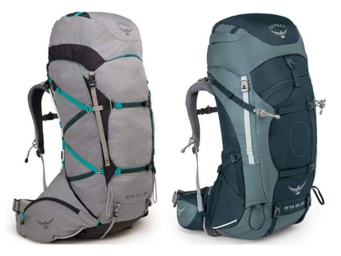 Osprey Ariel Pro 65 left and Osprey Ariel AG 65 right.