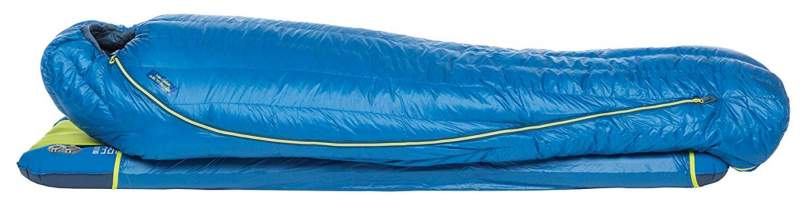 The Big Agnes Mystic UL 15 bag with a pad in the sleeve.