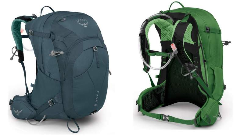 2019 Osprey Manta & Mira Series - front & back view of the packs.