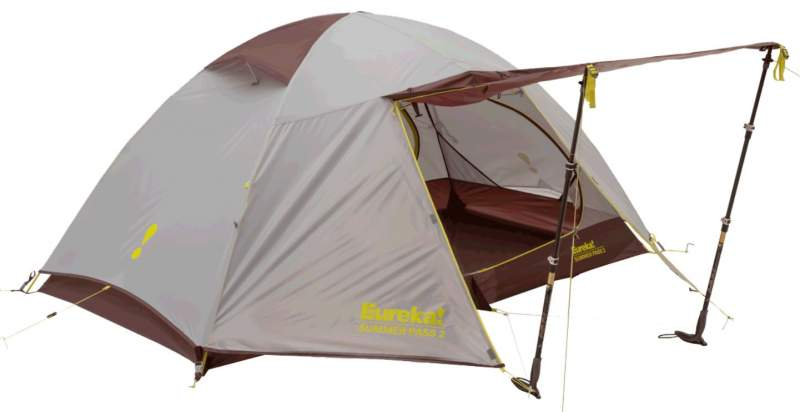 Eureka! Summer Pass 2 Person Backpacking Tent - front vestibule with awning configuration.