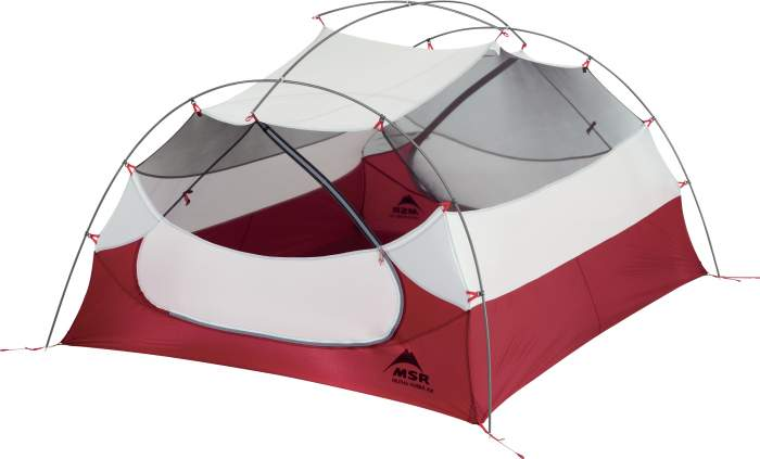 This is the tent shown without the fly, with all the poles visible.
