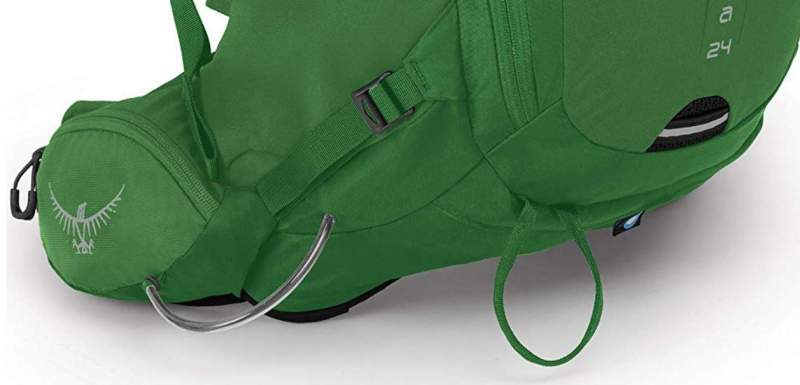The ice-axe loop, light attachment loop, the poles attachment loop, side zipper, and the bottom sign for the rain cover.