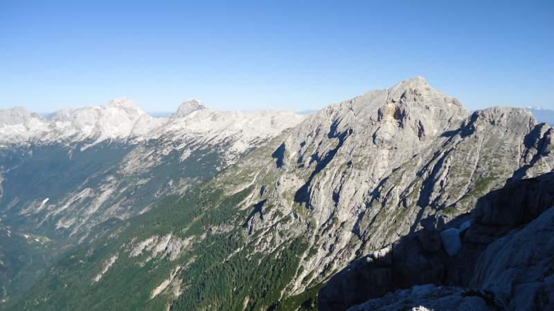 Prisojnik, Mangart, and Jalovec - view from Planja Pass.