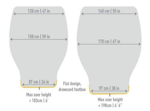 These are the two sizes R and L with all the dimensions.
